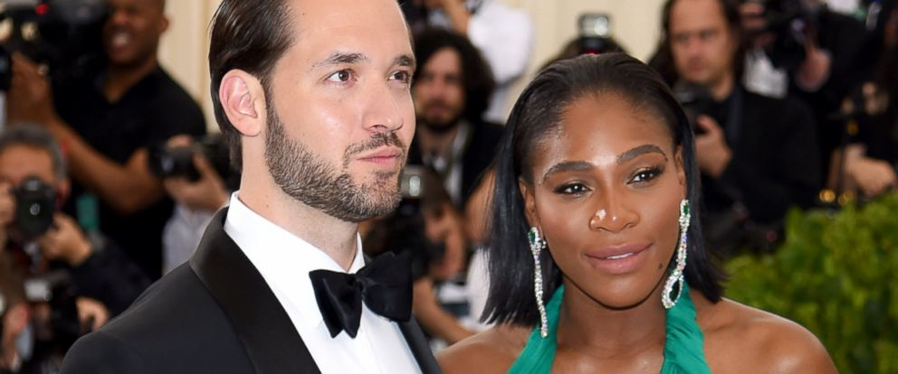 "PHOTO: Alexis Ohanian and Serena Williams attend the ""Rei Kawakubo/Comme des Garcons: Art Of The In-Between"" Costume Institute Gala at Metropolitan Museum of Art, May 1, 2017, in New York City."