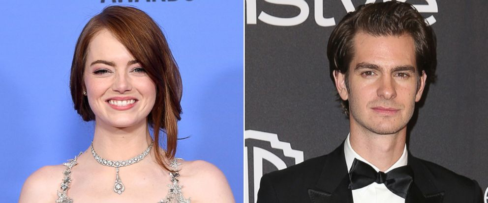 PHOTO: Emma Stone, left, and Andrew Garfield attend the 2017 Golden Globe Awards, Jan. 8, 2017, in Los Angeles.