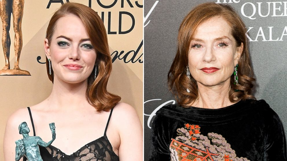 Emma Stone, left, and Isabella Huppert are competing for the best actress in a leading role Oscar.