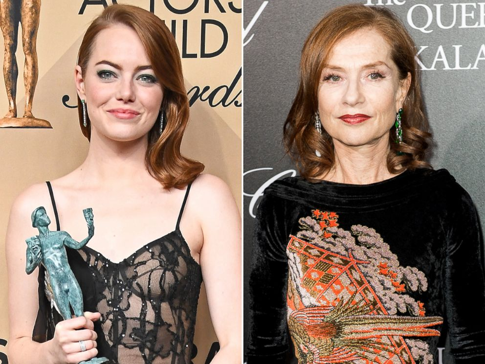 PHOTO: Emma Stone, left, and Isabella Huppert are competing for the best actress in a leading role Oscar.