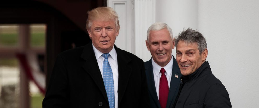 PHOTO: President-elect Donald Trump, Vice President-elect Mike Pence and Ari Emanuel pose for a photo before their meeting at Trump International Golf Club, Nov. 20, 2016, in Bedminster Township, New Jersey.