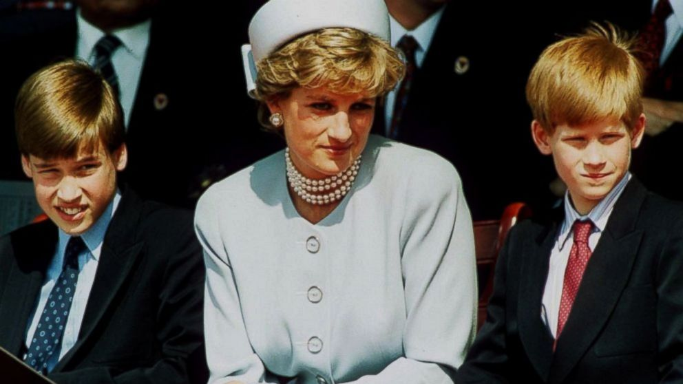 Princess Diana, Princess of Wales with her sons Prince William and Prince Harry attend the Heads of State VE Remembrance Service in Hyde Park in this May 7, 1995 file photo in London.