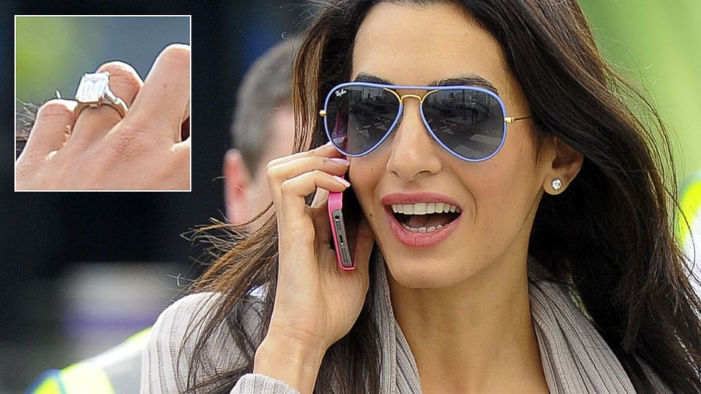 Amal Alamuddin Flashes Her Giant Engagement Ring As She Arrives Back In  London   ABC News