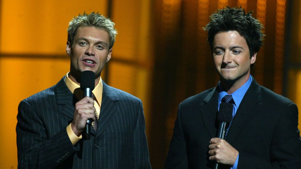 Ryan Seacrest & Brian Dunkleman from American Idol-Season 1-Concert tour which was held in Las Vegas, NV Sept. 18, 2006