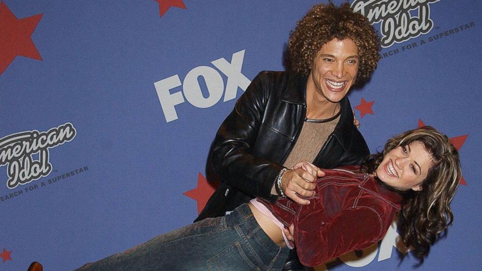 "Justin Guarini & Kelly Clarkson during ""American Idol"" Season 1 Finale."