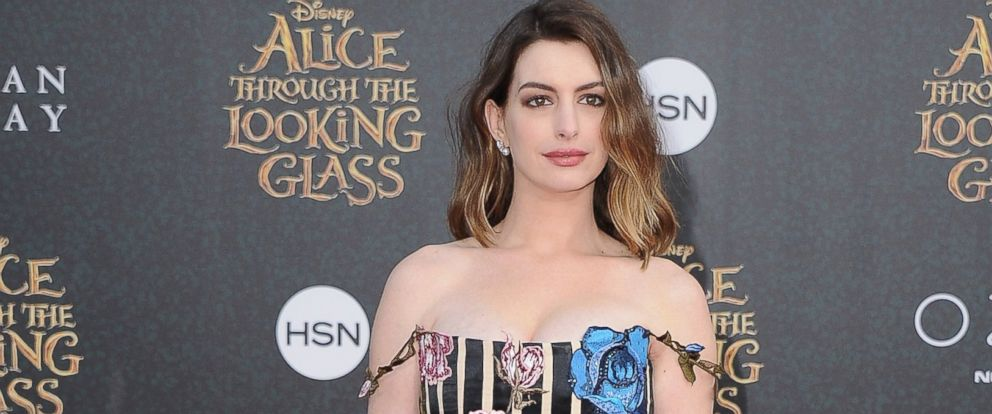 "PHOTO: Actress Anne Hathaway arrives at the Los Angeles Premiere ""Alice Through The Looking Glass"" at the El Capitan Theatre, May 23, 2016, in Hollywood, Calif."