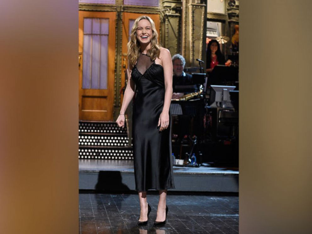 PHOTO: Brie Larson during the monologue of Saturday Night Live on May 7, 2016 in New York City.