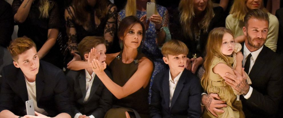 """PHOTO: Brooklyn Beckham, Cruz Beckham, Victoria Beckham, Romeo Beckham, Harper Beckham and David Beckham attend the Burberry """"London in Los Angeles"""" event at Griffith Observatory in this April 16, 2015 file photo in Los Angeles."""