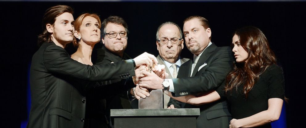 PHOTO:Rene-Charles Angelil, Celine Dion, Patrick Angelil, Andre Angelil, Jean-Pierre Angelil and Anne-Marie Angelil attend Rene Angelils memorial ceremony at the Colosseum at Caesars Palace, Feb. 3, 2016, in Las Vegas.