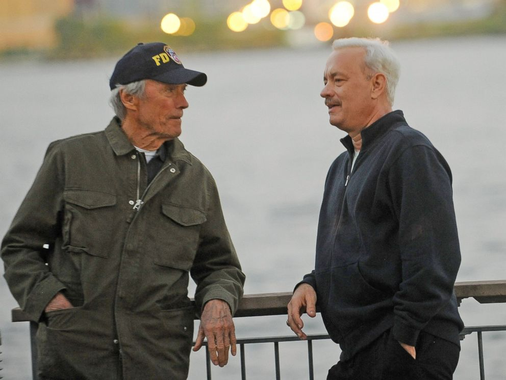 PHOTO: Director Clint Eastwood and actor Tom Hanks on the set of Sully Oct. 7, 2015, in New York.