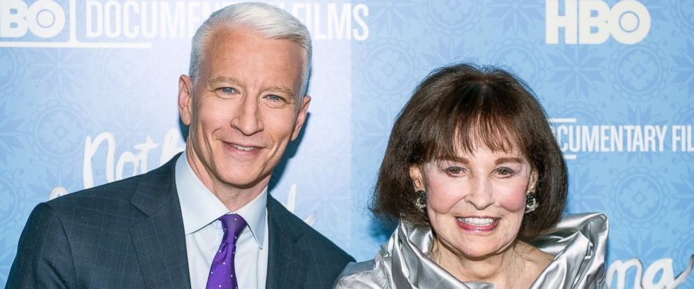 "PHOTO: Anderson Cooper and Gloria Vanderbilt attend ""Nothing Left Unsaid"" Premiere at Time Warner Center on April 4, 2016 in New York City."