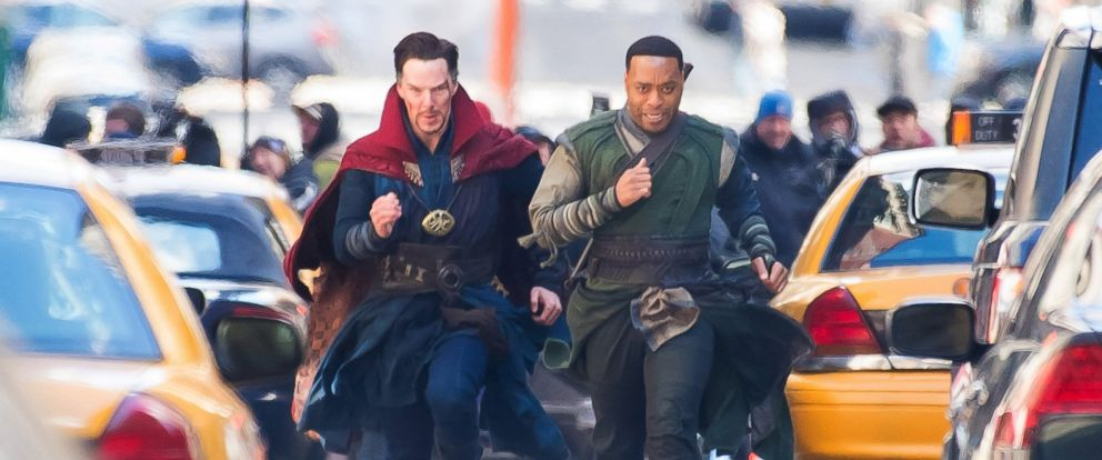"PHOTO: Actors Benedict Cumberbatch (L) and Chiwetel Ejiofor are seen filming ""Doctor Strange"" on April 3, 2016, in New York City."