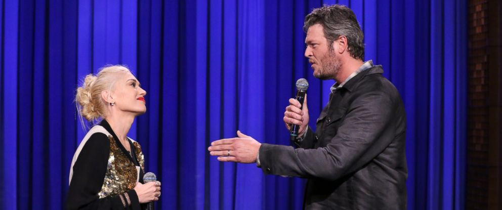 """PHOTO: Singer Gwen Stefani and singer Blake Shelton during a lip synch battle on """"The Tonight Show Starring Jimmy Fallon"""" on Sept. 17, 2014."""