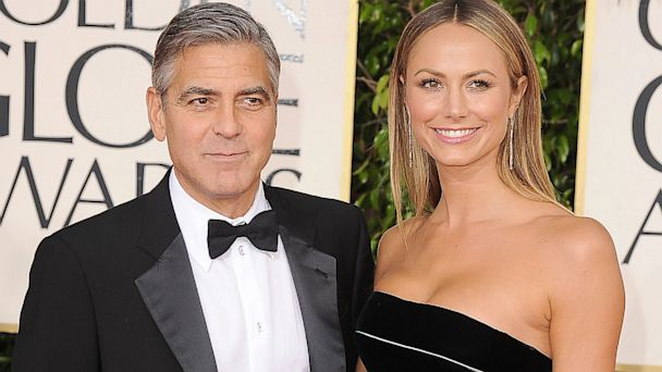 PHOTO: George Clooney and Stacy Keibler arrive at the 70th Annual Golden Globe Awards at The Beverly Hilton Hotel, January 13, 2013 in Beverly Hills, Calif.