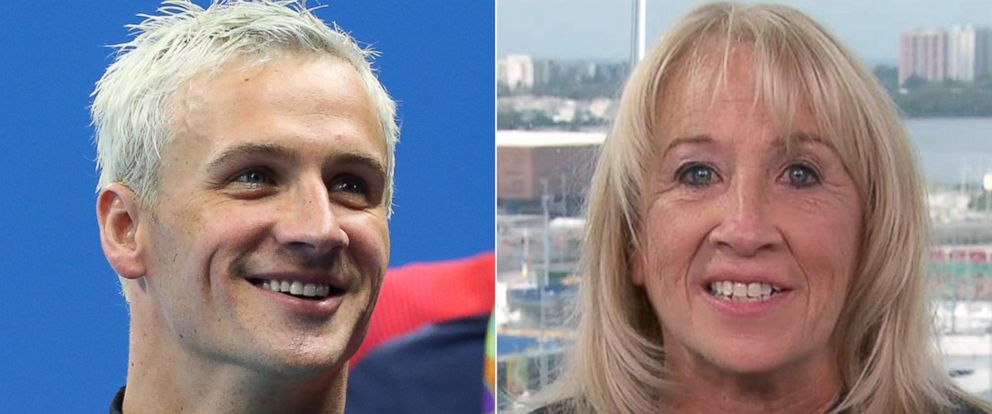 """PHOTO: Ryan Lochte of Team USA celebrates winning the gold medal, on Aug. 9, 2016, in Rio de Janeiro 