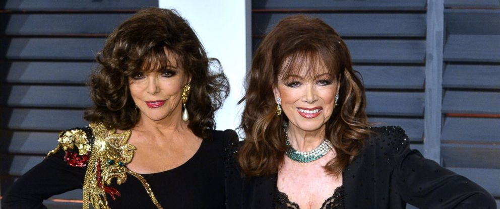 PHOTO: Joan Collins and Jackie Collins arrive at the 2015 Vanity Fair Oscar Party Hosted By Graydon Carter at Wallis Annenberg Center for the Performing Arts, Feb. 22, 2015, in Beverly Hills, Calif.