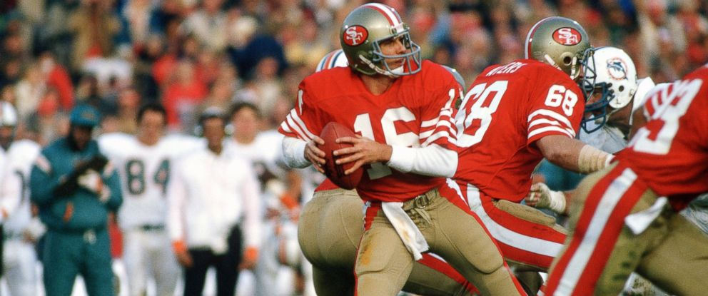 PHOTO: Joe Montana #16 of the San Francisco 49ers drops back to pass against the Miami Dolphins during Super Bowl XIX on Jan. 20, 1985 at Stanford Stadium in Palo Alto, California.