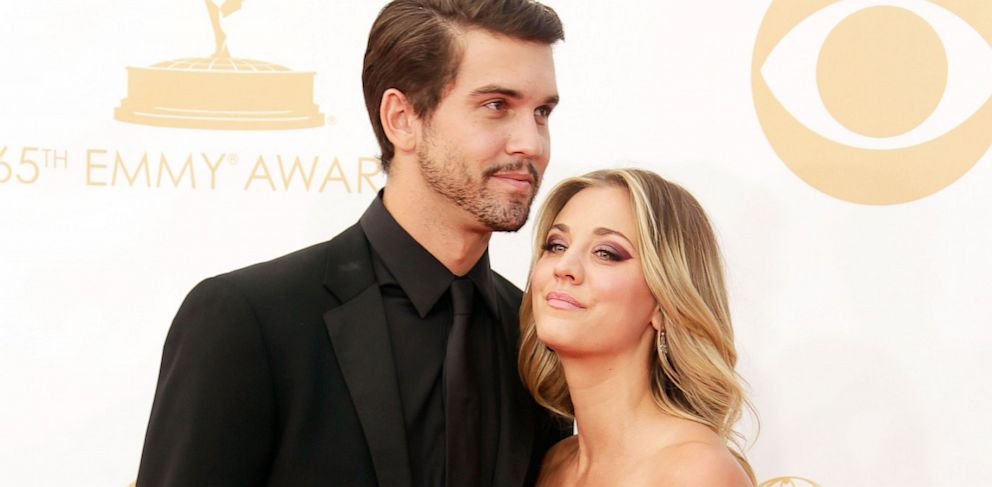 PHOTO: Actress Kaley Cuoco, right, and Ryan Sweeting arrive at the 65th Annual Primetime Emmy Awards held at Nokia Theatre L.A. Live on Sept. 22, 2013 in Los Angeles.