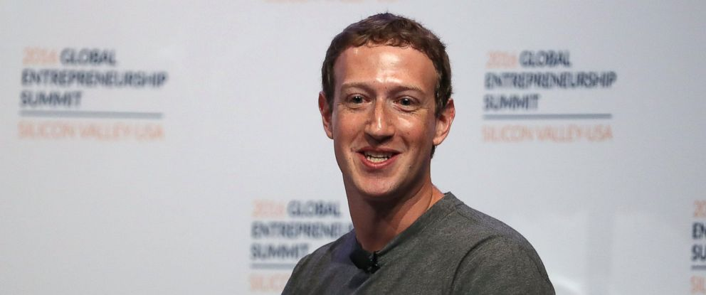 PHOTO: Facebook CEO Mark Zuckerberg speaks on a panel discussion with U.S. president Barack Obama during the 2016 Global Entrepreneurship Summit at Stanford University on June 24, 2016 in Stanford, Calif.