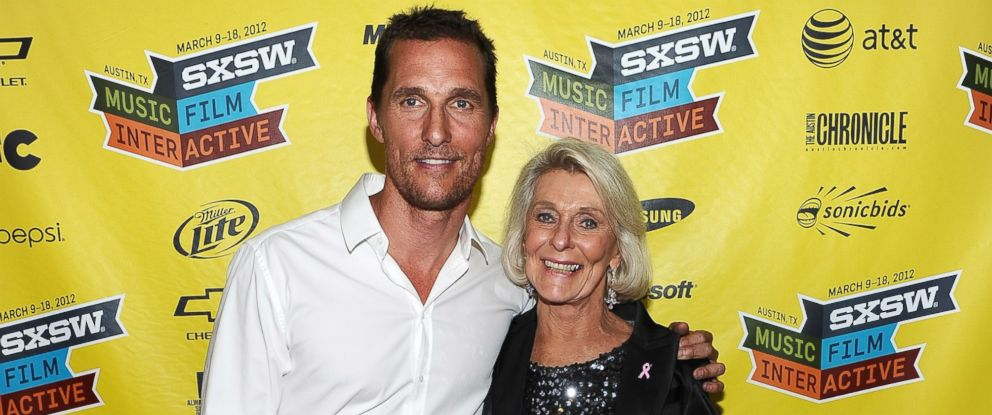"""PHOTO: Actor Matthew McConaughey, left, and mother Kay McConaughey attend the world premiere of """"Bernie"""" during the 2012 SXSW Music, Film + Interactive Festival at Paramount Theatre in this March 13, 2012, file photo."""