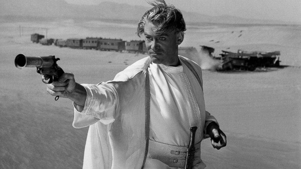 """Peter O'Toole on the set of the film """"Lawrence of Arabia,"""" released in 1962."""
