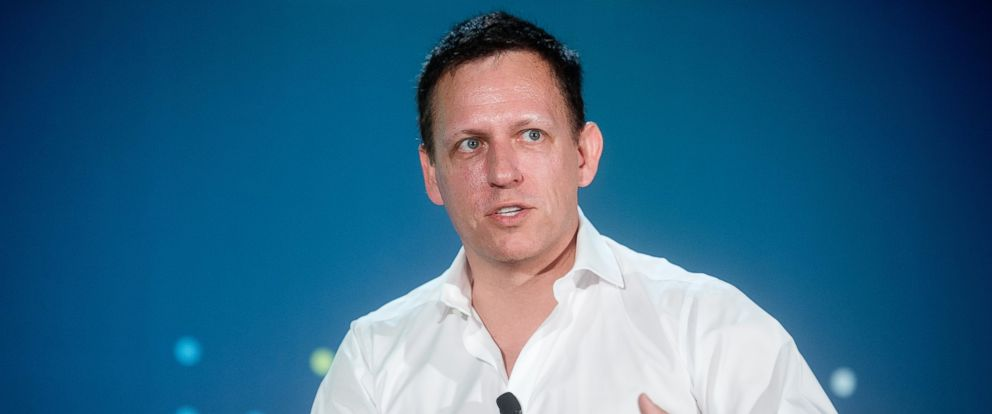 PHOTO: Peter Thiel speaks during the LendIt USA 2016 conference in San Francisco, Calif., April 12, 2016.