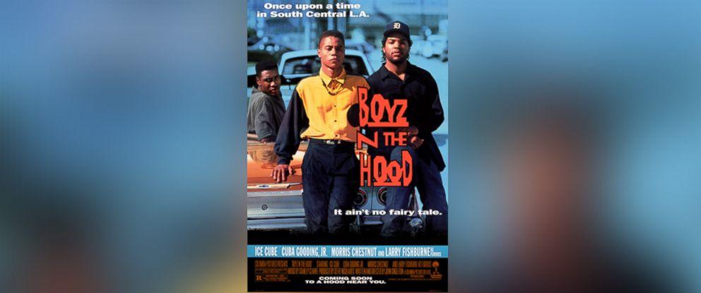 PHOTO: One sheet movie poster advertises the film Boyz n the Hood, John Singletons directorial debut starring Laurence Fishburne, Cuba Gooding Jr, Ice T, and Angela Bassett, 1991.