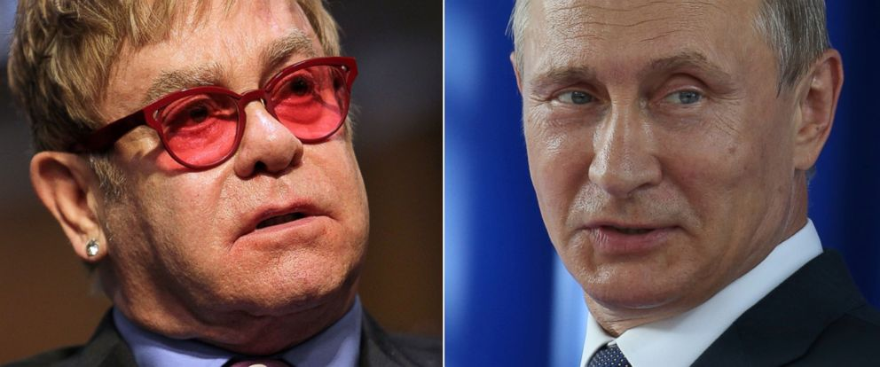PHOTO: Elton John testifies before U.S. Senate Appropriations State, May 6, 2015 in Washington. Vladimir Putin President attends the launch ceremony for a technical tunnel at the Sheskharis transshipment terminal in Novorossiysk, Russia, Aug. 20,2015.