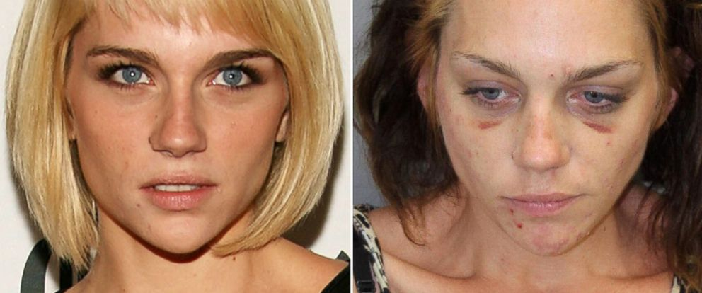 PHOTO: Renee Alway arrives at the 2007 Fox Reality Channel Really Awards held at Boulevard 3, Oct. 2, 2007, in Hollywood, Calif. Right, Model Renee Alway is seen in a police booking photo June 28, 2013, in Palm Springs, Calif.
