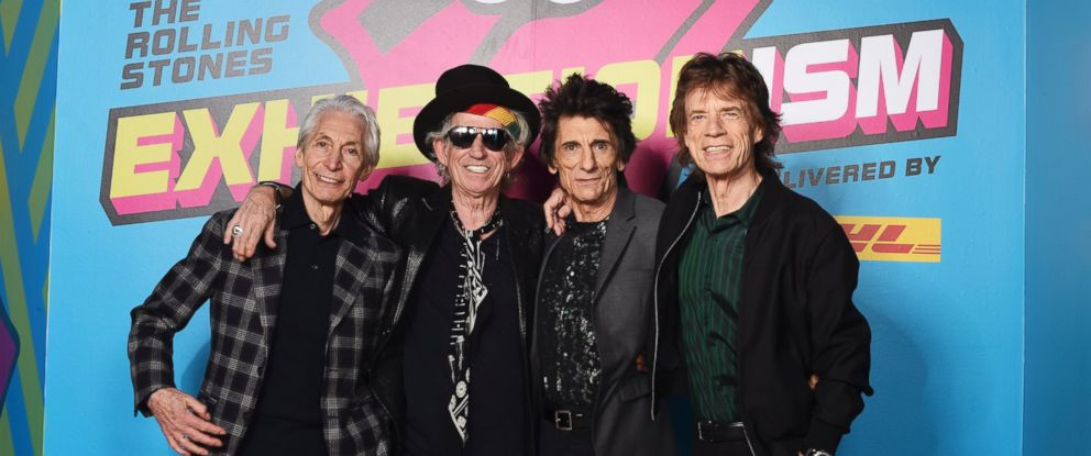 "PHOTO: (L-R) Charlie Watts, Keith Richards, Ronnie Wood and Mick Jagger of The Rolling Stones pose during a preview of ""The Rolling Stones: Exhibitionism"" at Saatchi Gallery, on April 4, 2016, in London."