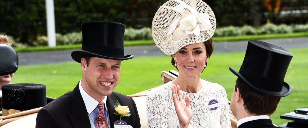 PHOTO: Prince William, Duke of Cambridge, and Catherine, Duchess of Cambridge, arrive in an open carriage to attend Day 2 of Royal Ascot on June 15, 2016 in Ascot, England.