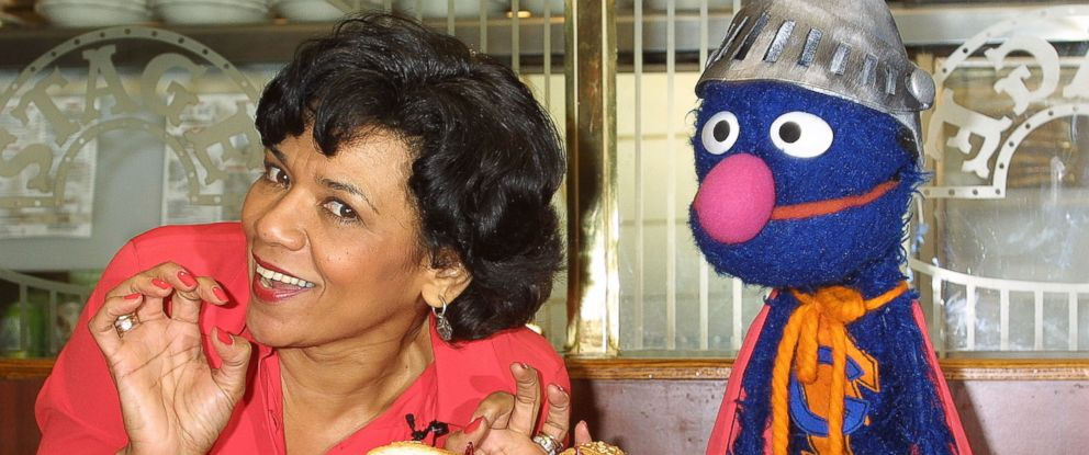 "PHOTO: Actress Sonia Manzano, who plays Maria Rodriquez on the childrens television show ""Sesame Street,"" and the muppet Grover launch the new ""Super Grover"" sandwich in this Feb. 27, 2002 file photo at the Stage Deli in New York City."