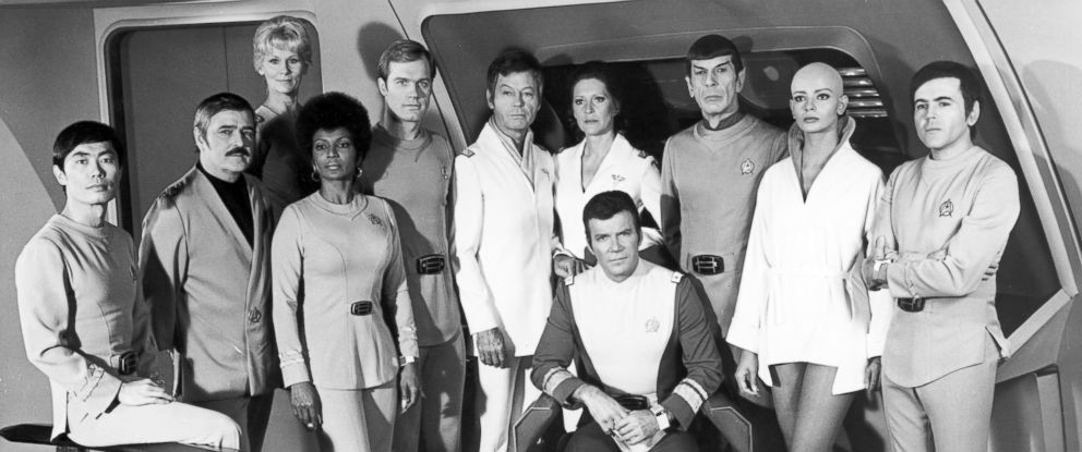 """PHOTO: The cast of Star Trek pose for a portrait during the filming of the movie """"Star Trek: The Motion Picture"""" which was released Dec. 27, 1979, in the U.S."""
