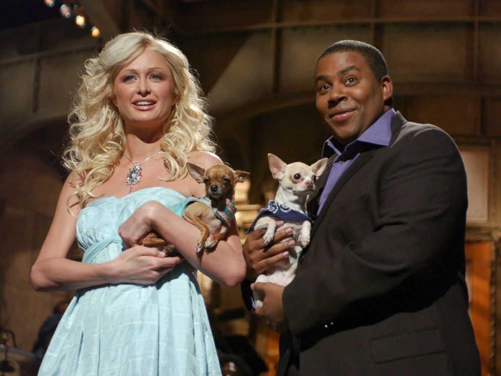 PHOTO: Paris Hilton and Tinkerbell are seen with Kenan Tompson for a Feb. 2, 2005 episode of Saturday Night Live.