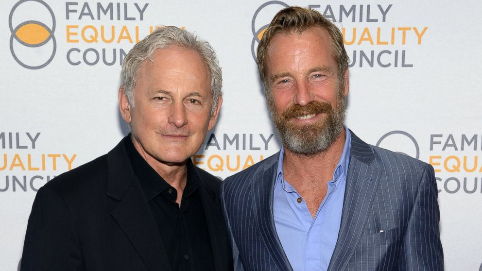 Actor Victor Garber and artist Rainer Andreesen attend the Family Equality Council's 2014 Night at the Pier at Pier 60, May 12, 2014, in New York.