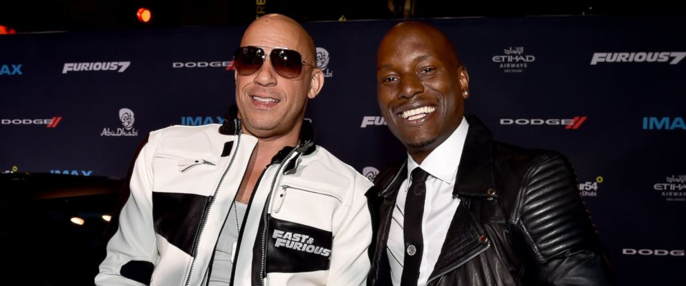 """PHOTO: Vin Diesel and Tyrese Gibson attend Universal Pictures """"Furious 7"""" premiere at TCL Chinese Theatre on April 1, 2015 in Hollywood, Calif."""