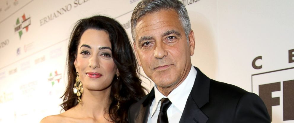 Amal Alamuddin and George Clooney in Florence, Italy, Sept. 7, 2014.