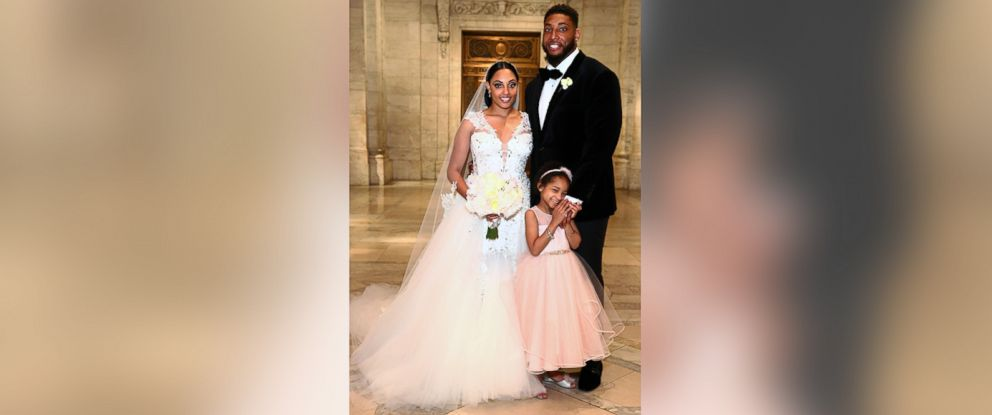 PHOTO: Asha Joyce and husband Devon Still pose with daughter Leah Still after The Knot Dream Wedding, May 13, 2016 in New York.