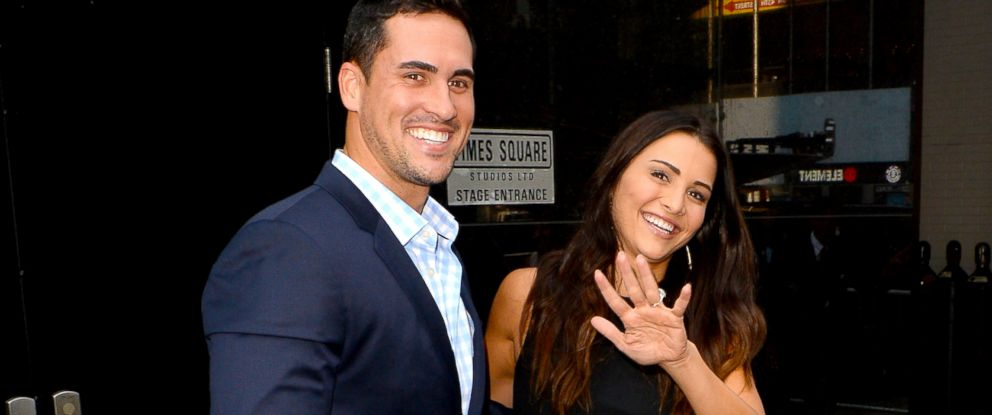 """PHOTO: Andi Dorfman and Josh Murray from The Bachelorette are seen leaving """"Good Morning America""""on July 29, 2014 in New York City."""