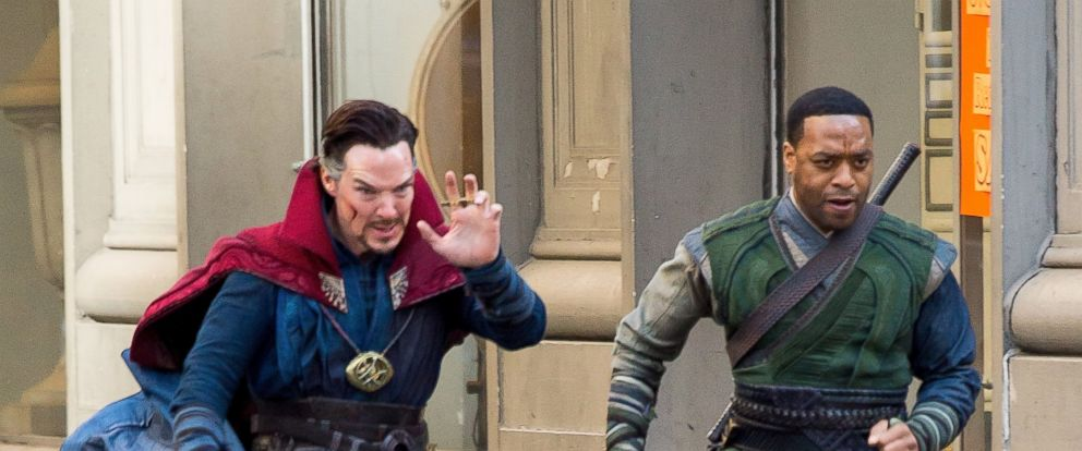 "PHOTO: Benedict Cumberbatch, left, and Chiwetel Ejiofor are seen filming ""Doctor Strange,"" April 3, 2016 in New York."
