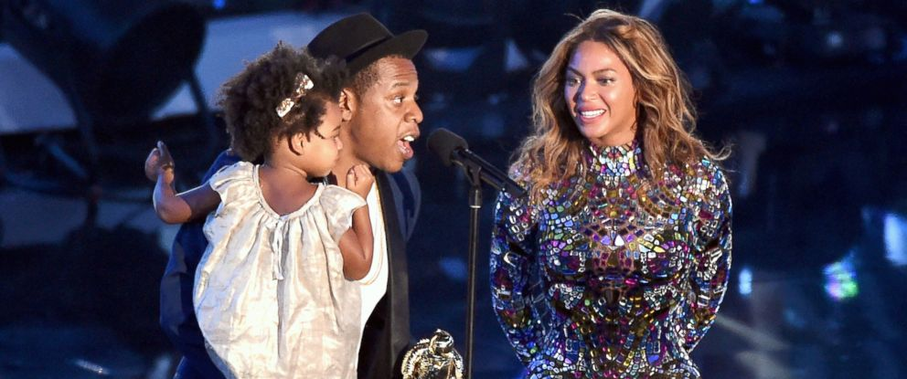 PHOTO: Jay-Z and daughter Blue Ivy Carter present the Michael Jackson Video Vanguard Award to honoree Beyonce onstage during the 2014 MTV Video Music Awards at The Forum, Aug. 24, 2014, in Inglewood, Calif.