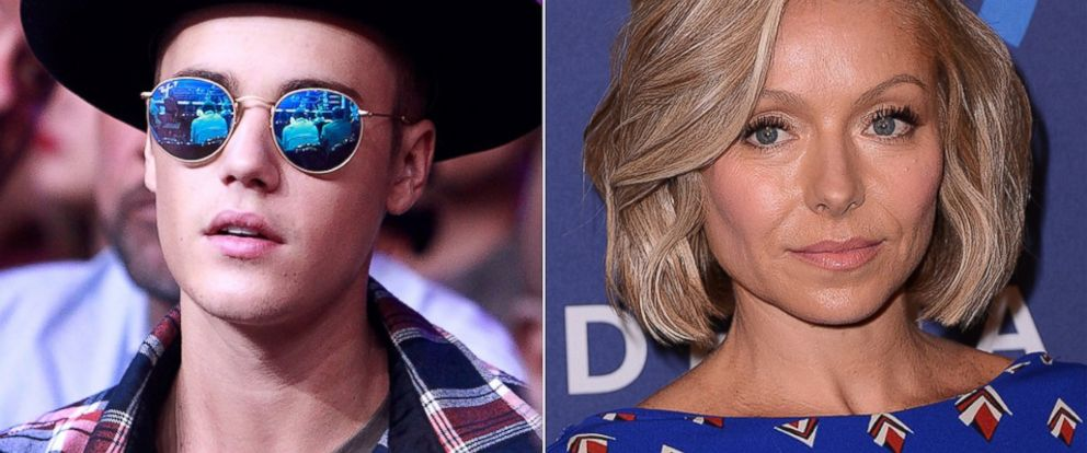 PHOTO: Justin Bieber, left, is pictured on June 20, 2015 in Las Vegas. Kelly Ripa, right, is pictured on May 9, 2015 in New York City.