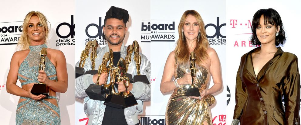 PHOTO: From left, Britney Spears, The Weeknd, Celine Dion and Rihanna are seen at the Billboard Music Awards, May 22, 2016.