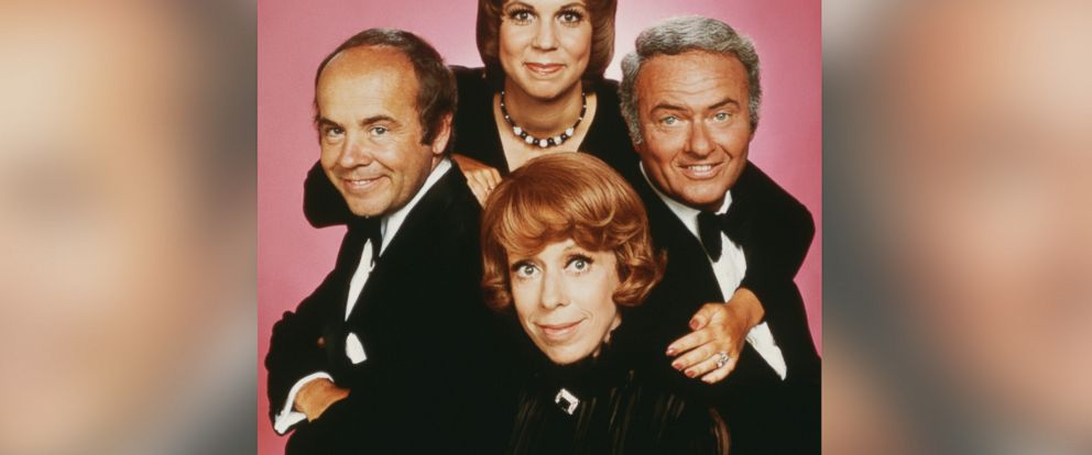 """PHOTO: A promotional studio portrait of the cast of the television comedy variety series, """"The Carol Burnett Show."""" Clockwise from top, Vicki Lawrence, Harvey Korman, Carol Burnett and Tim Conway, circa 1975."""