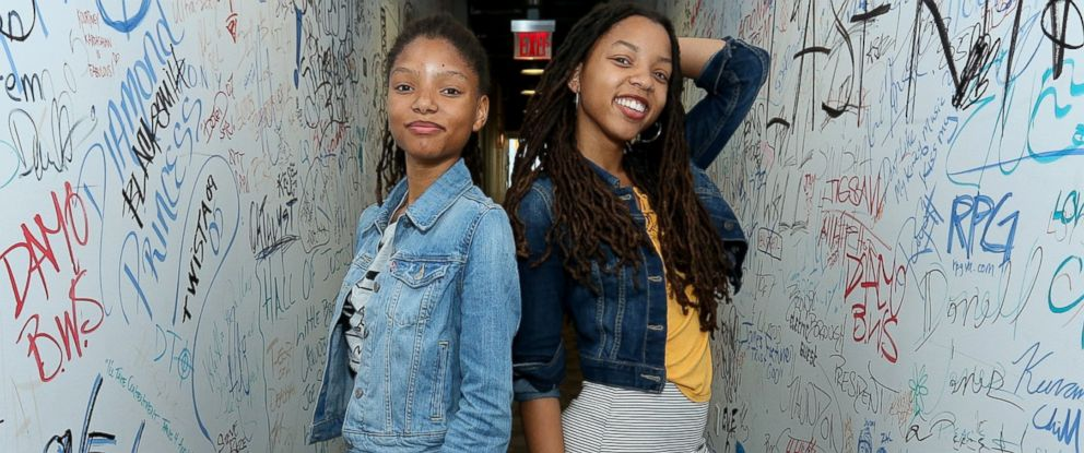 """PHOTO: Chloe Bailey and Halle Bailey of """"Chloe x Halle"""" visit at Music Choice, June 9, 2016, in New York City."""