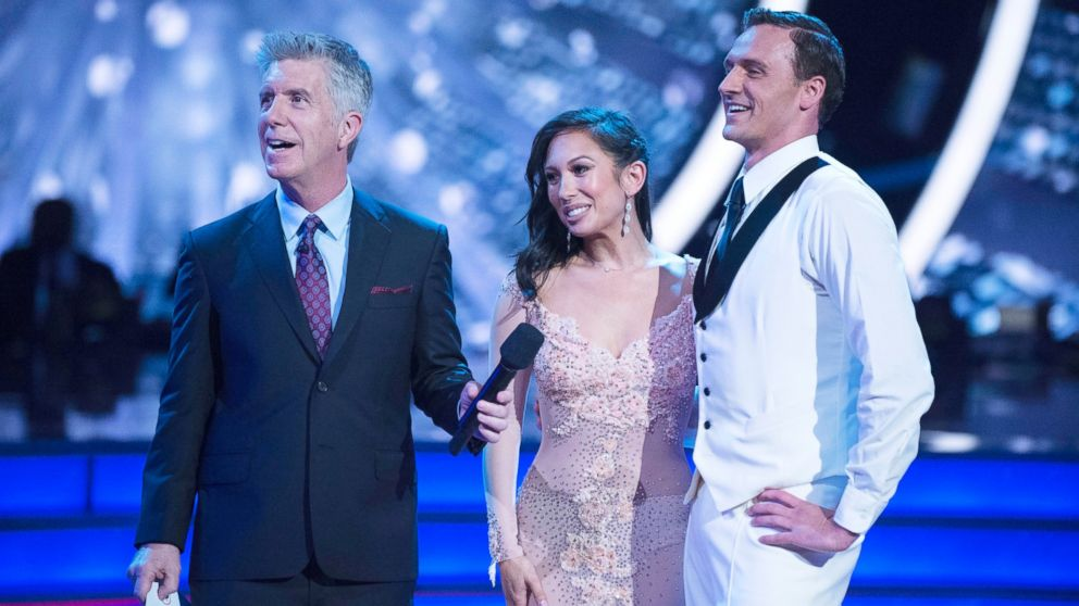 "Tom Bergeron, Cheryl Burke and Ryan Lochte appear on ""Dancing with the Stars"" Sept. 12, 2016."