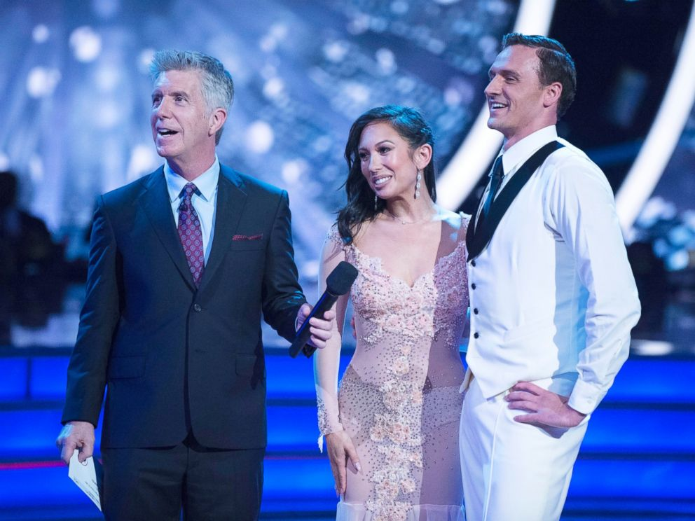 PHOTO: Tom Bergeron, Cheryl Burke and Ryan Lochte appear on Dancing with the Stars Sept. 12, 2016.