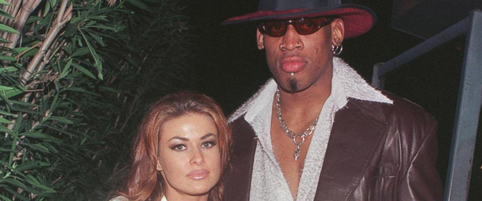 PHOTO: New Laker Dennis Rodman celebrates his first winning game out on the town at GOODBAR with wife Carmen Electra in Beverly Hills, CA, in this Feb. 26, 1999, file photo.