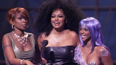 PHOTO: Mary J. Blige, left, Lil Kim, right, and Diana Ross presenting the award for Best Hip-Hop video during the 1999 MTV Music Video Awards at the Metropolitan Opera House, Lincoln Center in New York City in this Sept. 9, 1999, file photo.