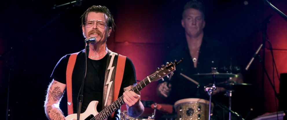 PHOTO: Musicians Jesse Hughes and Josh Homme of Eagles of Death Metal perform at the Teragram Ballroom, Oct. 19, 2015, in Los Angeles.